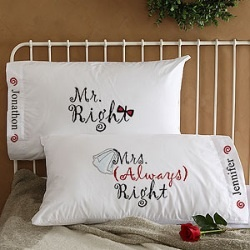 Mr & Mrs Right Personalized Wedding Pillowcases