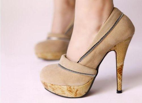Designer-Damen-Schuhe-Pumps-High-Heels-Creme-BeigeReissverschluss-UVP-49-90
