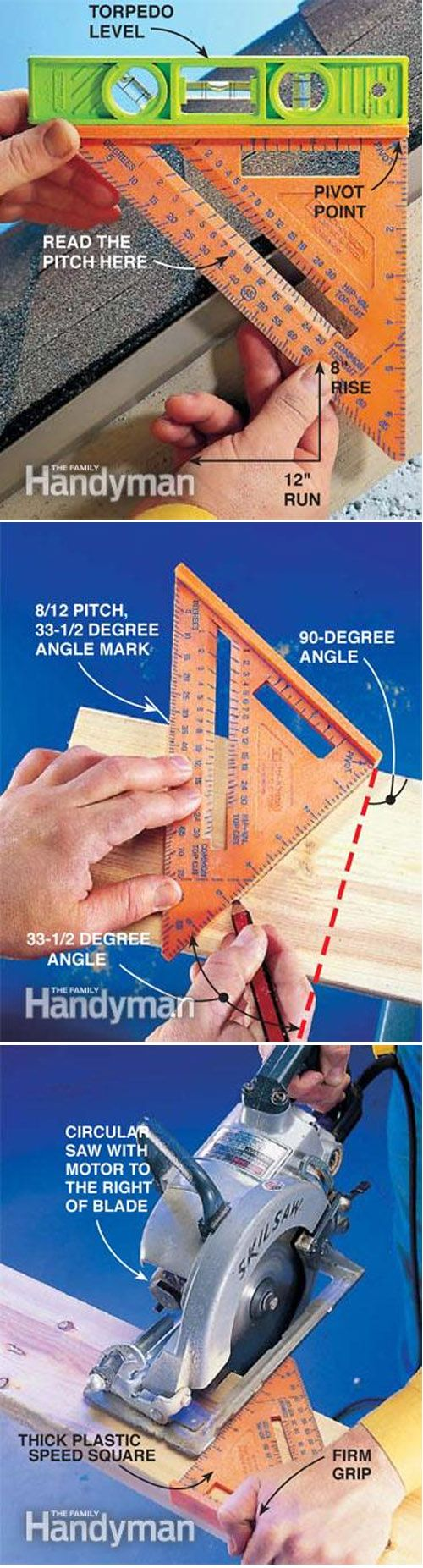 How to use your speed square http://www.familyhandyman.com/tools/how-to-use-a-speed-square/view-all