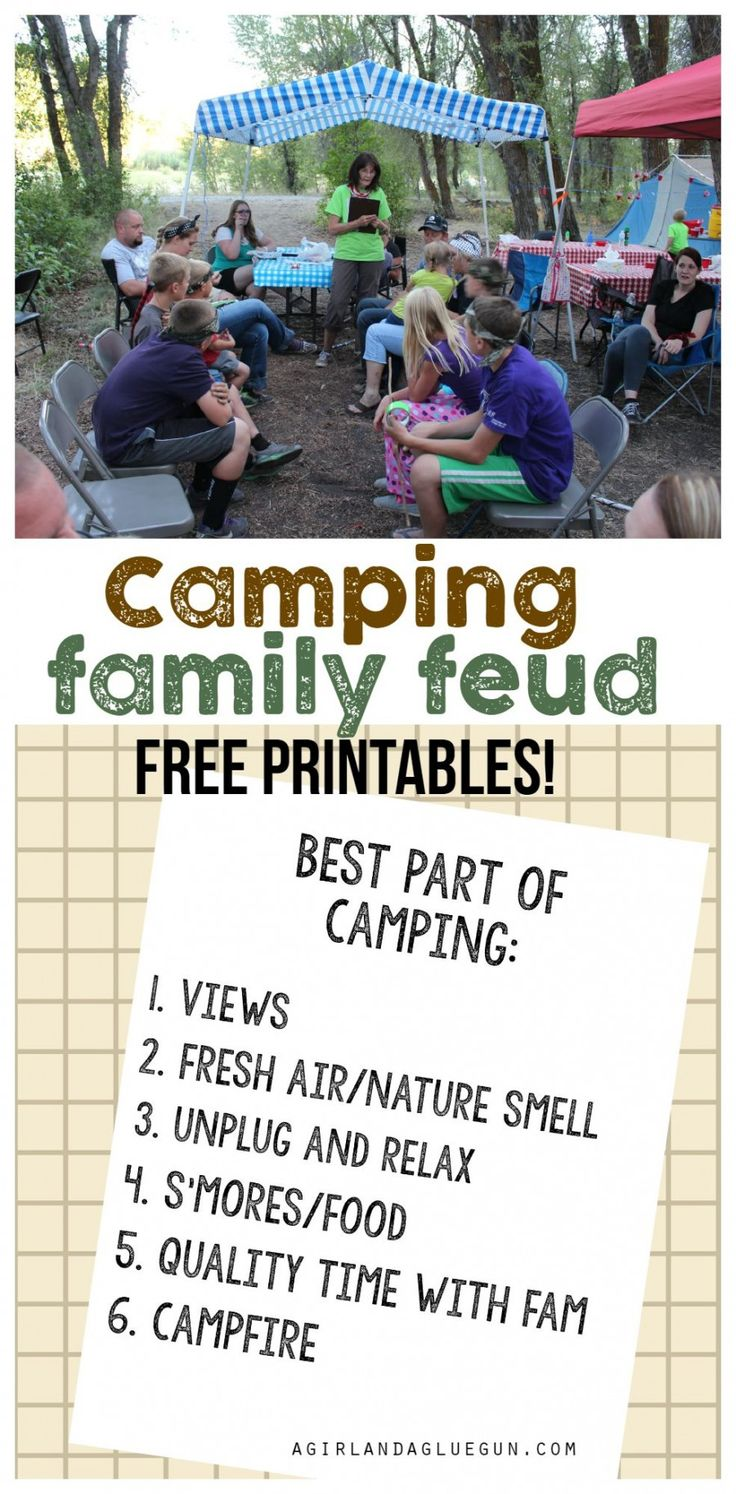 camping family feud with  free printables!