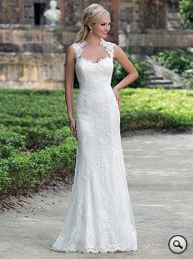 Sincerity Bridal 3885 // A timeless, Queen Anne neckline accents this Point d'Esprit and lace gown. The daring back detail and buttons to the end of the finished hem lace adds accent while the stretch-Jersey fabric makes this dress fit perfectly. Court length train.