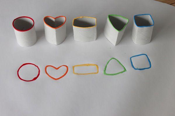 Cardboard tube stamps  Sellos con tubos de cartón
