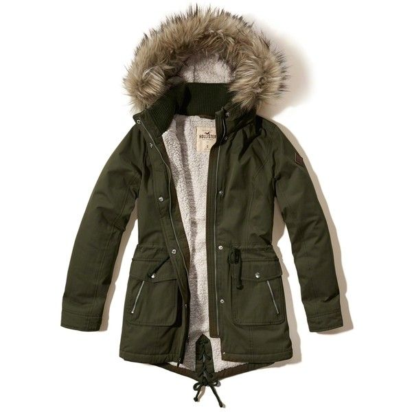 Hollister Heritage Sherpa Lined Parka ($140) ❤ liked on Polyvore featuring outerwear, coats, olive, fur-lined parkas, fur coat, olive green parkas, olive parka and army green parka coat