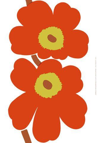 Unikko 50th Anniversary Fabric By the Repeat White/Orange/Green | Kiitos Marimekko