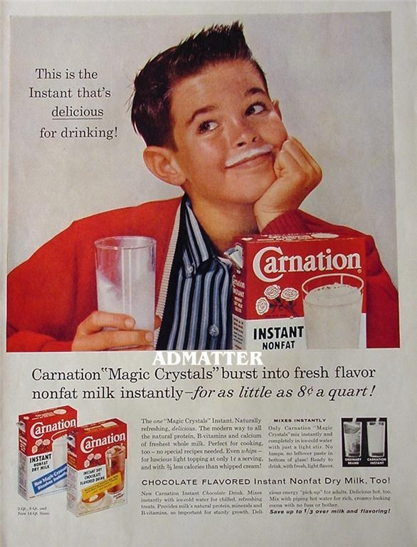 1958 Carnation Milk ad: Milk Nasty, Instant Milk, Power Milk, Real Milk, Milk W, Milk Mixed, Carnations Milk, Mixed Milk, Milk Ads