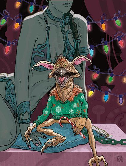 Star Wars Salacious Crumb Slave Leia Christmas Card. $4.00, via Etsy.