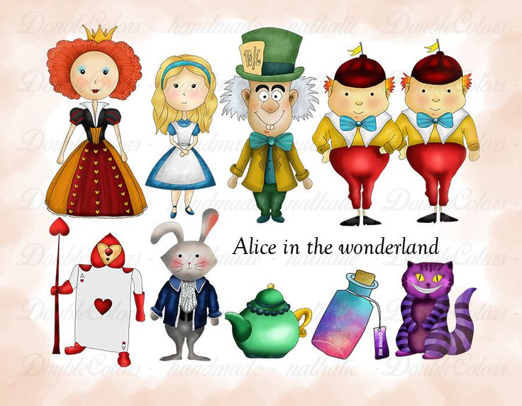 Alice in the wonderland clipart, printable. png, de DoubleColors en Etsy