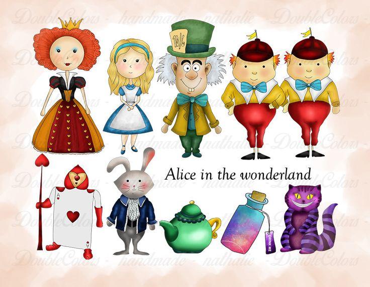 Alice in the wonderland clipart, printable. png, de DoubleColors en Etsy