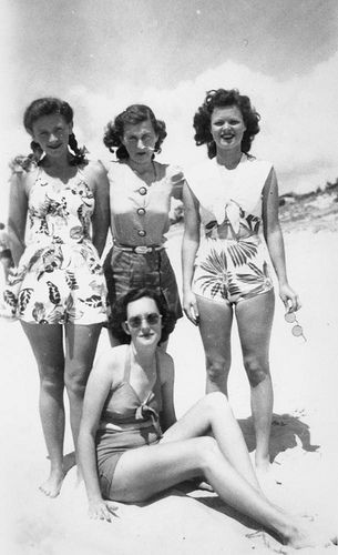 Friends posing on Kirra Beach, 1938.