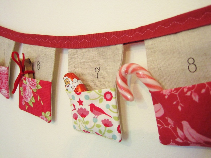 Bunting advent calendar 24 linen flags With your choice of fabric pockets
