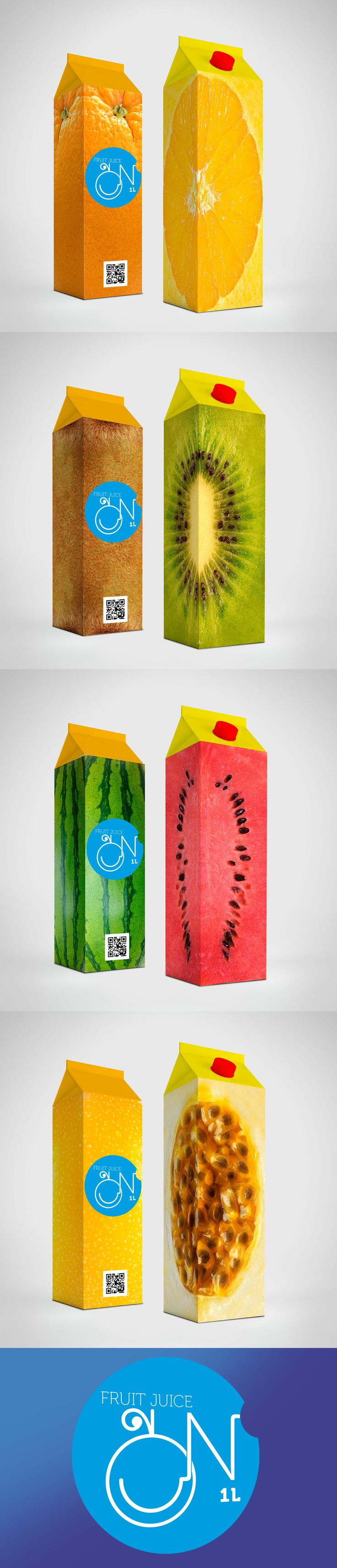 I like how these cartons are wrapped in fruit. Not only does it look really interesting but it also hints the flavor.