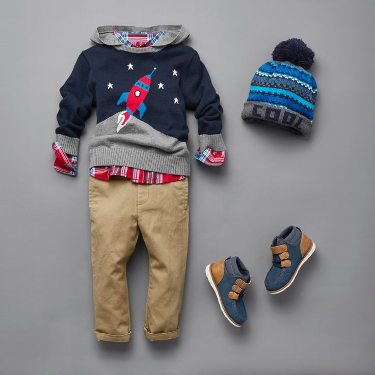 Toddler Boys Fashion | Kidswear | Outfit | Long Sleeve Hooded Sweater | Rocket |  Chino Pants |  Pom Pom Beanie |  Mid-Top Boots | The Children's Place