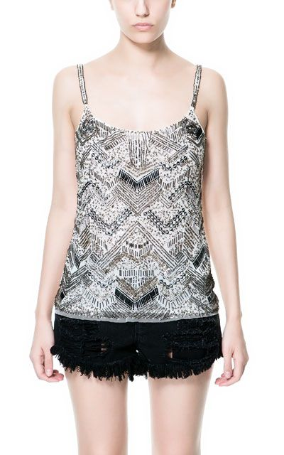 SEQUINNED TOP WITH STRAPS - Trf - Tops - Woman   ZARA United States