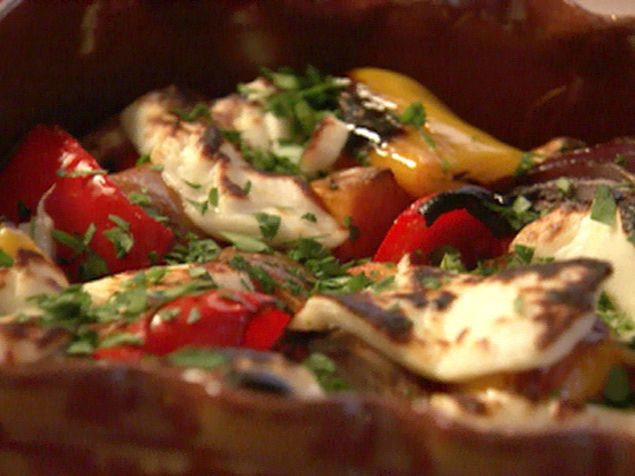 Double Potato and Halloumi Bake Recipe : Nigella Lawson : Food Network - FoodNetwork.com