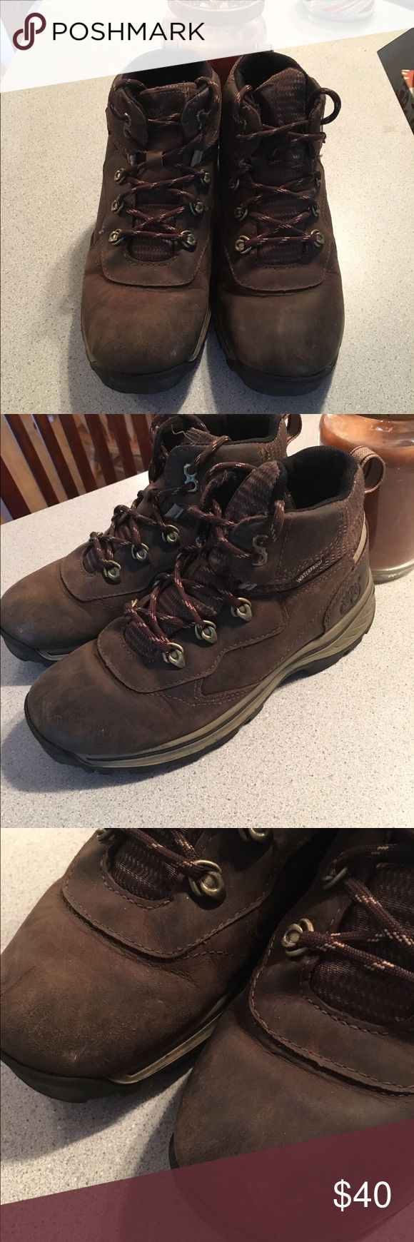 Timberland Hiking Boots Hiking boots. Great brand. These are a kids size 4. Have been worn (see pics) but still in good condition. Timberland Shoes Boots