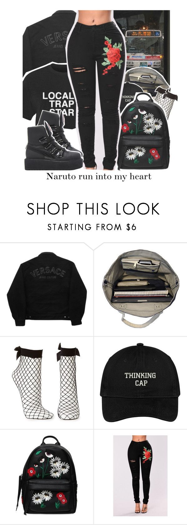 """""""Shoutout 2 my Shinobi"""" by s0-childish ❤ liked on Polyvore featuring Versace Jeans Couture, Esperos, Charlotte Russe, Chiara Ferragni, Puma, black, tumblr, versace, aesthetic and fashionnova"""