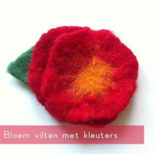 Vilten met wol is voor (jonge) kinderen een fijne activiteit. Ze zijn bezig met meerdere zintuigen en mogen lekker kliederen met water en zeep. Deze bloem is eenvoudig te maken, met een prachtig re...