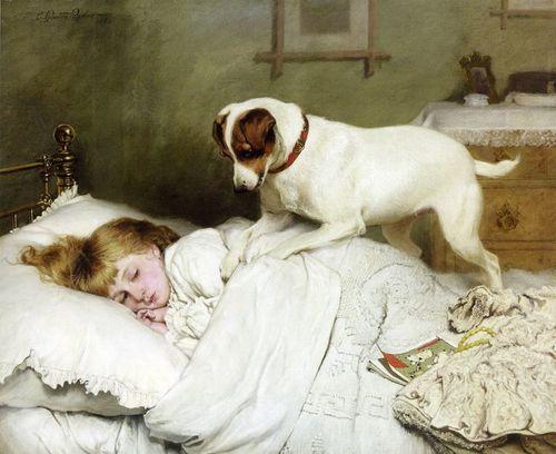 fleurdulys:  Time to Wake Up - Charles Burton Barber 1883