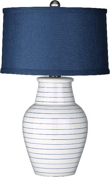 Redondo Navy Blue and White Beach Lamp with Shade-ON BACKORDER UNTIL DECEMBER 2014
