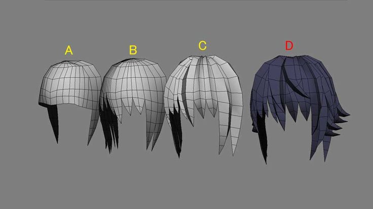 black-long-tail 実原氷里:3DCG:髪