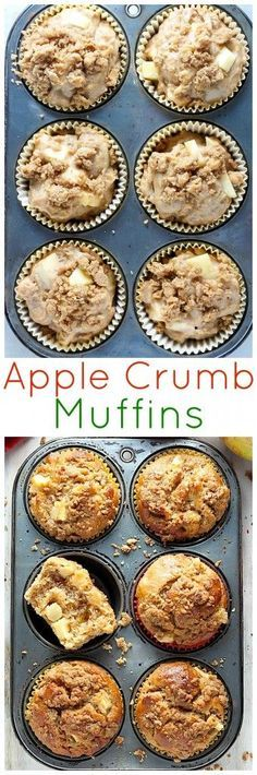 Apple Crumb Muffins - soft, fluffy, and loaded with juicy apples!