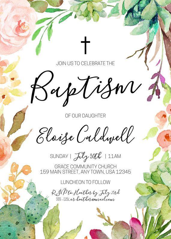 succulent baptism invitation floral baptism invite cactus invite