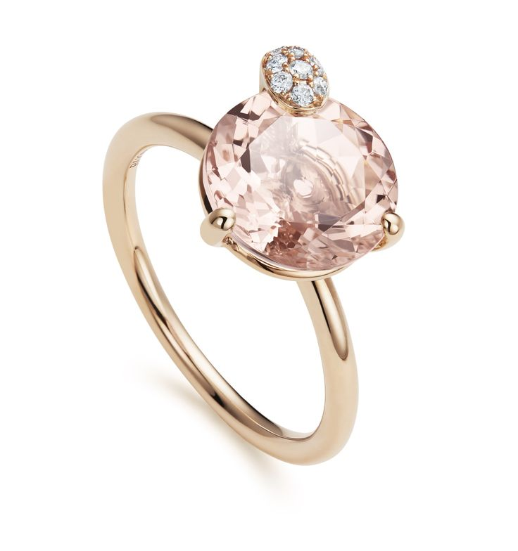 Ring - 18K rose gold, morganite round cut total 3.4 ct., 9 diamonds brilliant cut total 0.05 ct  #Bucherer #Peekaboo #finejewellery