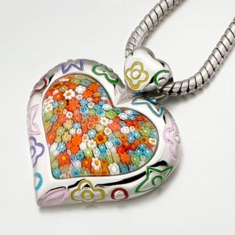 Murano Glass Millefiori Heart Pendant. $26.99