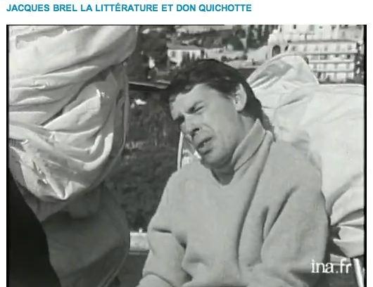 JACQUES BREL, interview sur son bateau, il se dit fasciné par les héros, surtout Don Quichotte dont il parle longuement, il explique ses sentiments pour ce personnage.