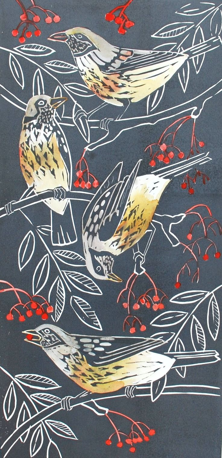 The Rowan Robbers (Fieldfares) My latest linocut. www.celialewis.co.uk