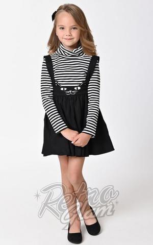 Unique Vintage Kids Sabrina Black Cat Suspender Skirt