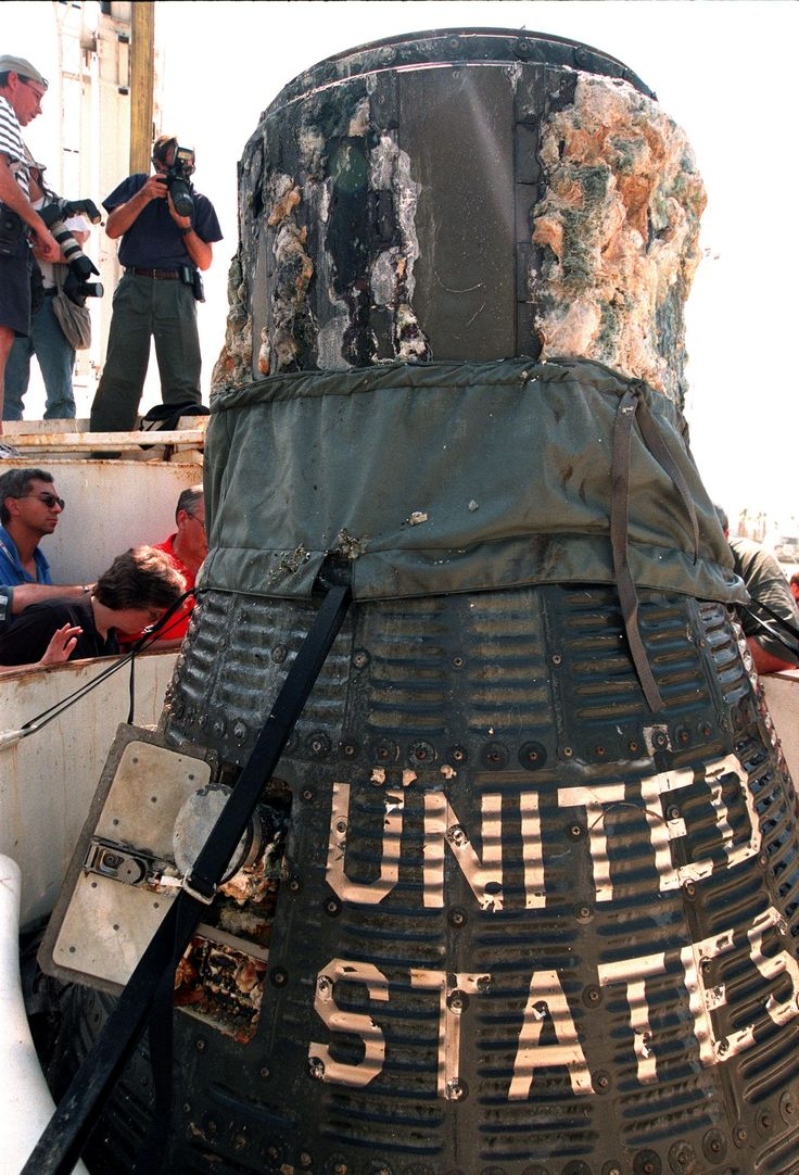 Liberty Bell 7 Gus Grissom's Gemini capsule that sank to the bottom of the ocean! | File:Liberty Bell 7 1999.jpg - Wikimedia Commons