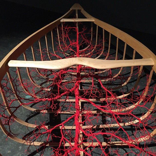 """Blood & Bone"" @cpxannapolis #artifact #art #sculpture #canoe #artshow #anatomy #blood #bone #veins #vessel #canoe #gallery #woodworking #wood #steambent #steambending"