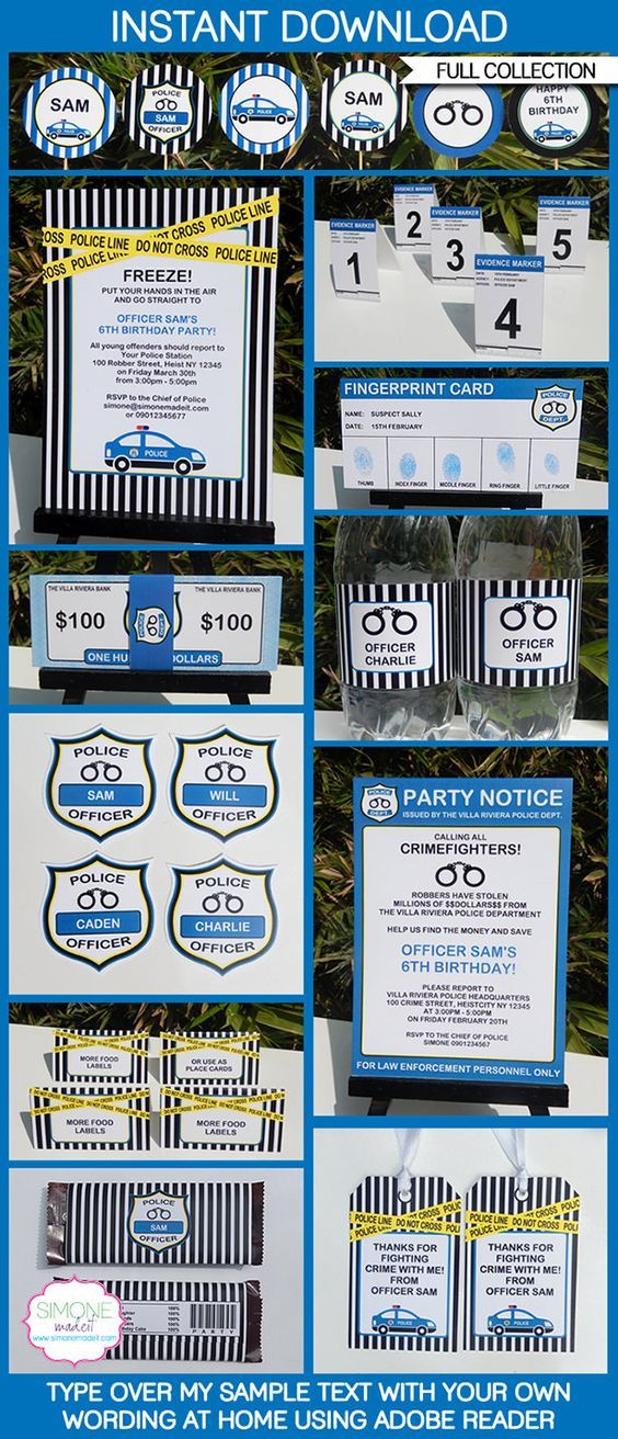Police Party Printables, Invitations & Decorations | Future House