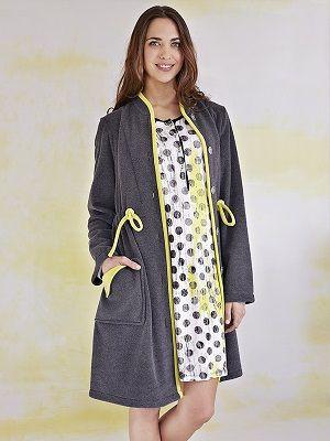 Bata invierno mujer Vania gris -homewear. http://www.perfumeriaelajuar.com/homewear/batines-mujer--invierno/32/