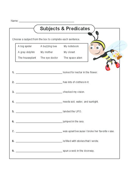Subject And Predicate Practice Free Printable Worksheets