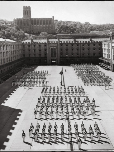 West Point Cadets Standing at Parade Rest in Courtyard of the West Point Military Academy