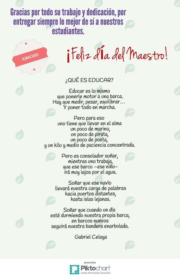 Un poema inspirador para el día del maestro...                                                                                                                                                      Más
