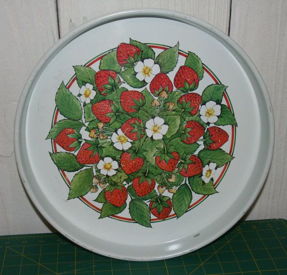 Strawberry Kitchen Items | Strawberry Tray Vintage Metal Kitchen Decor Red Green and White ...