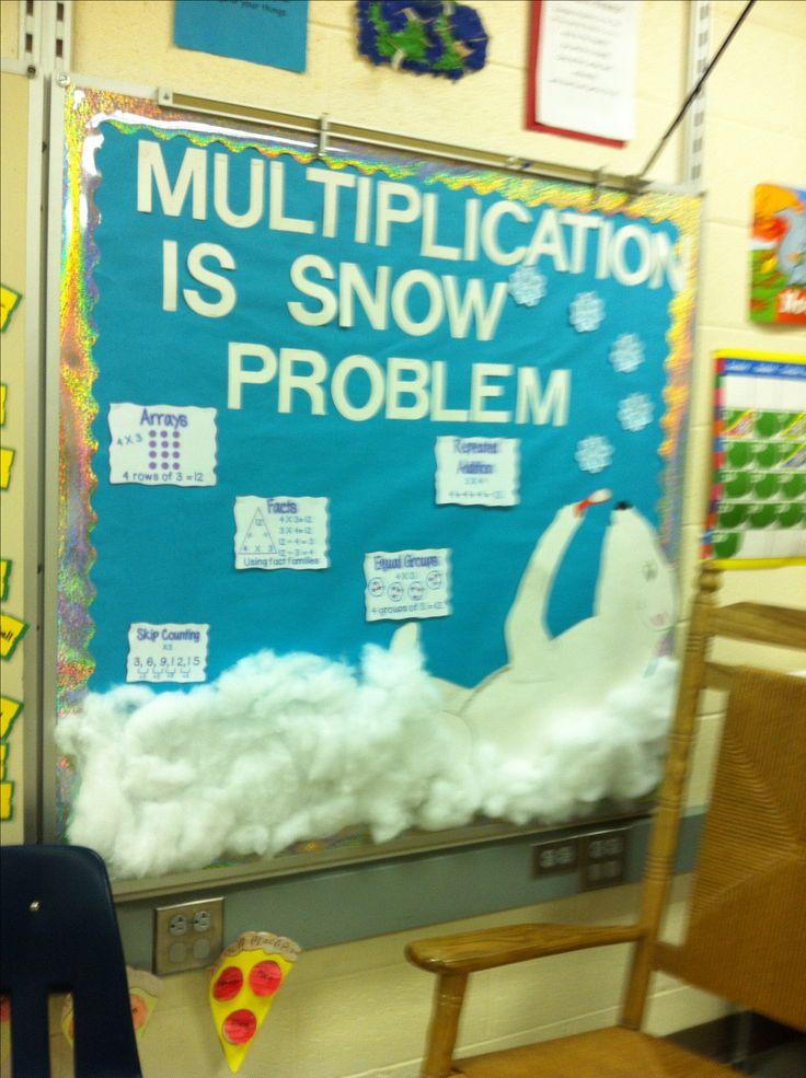 Third grade winter multiplication bulletin board