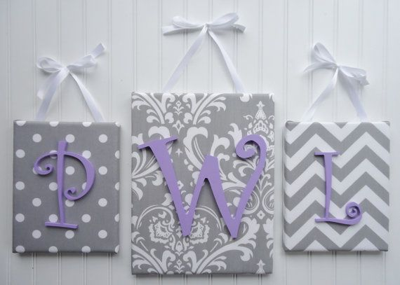 Wall Letters, Monogram,  Nursery Decor, Upholstered Letters, Wooden Letters, Nursery Letters, Gray Patterns with Lavender Letters
