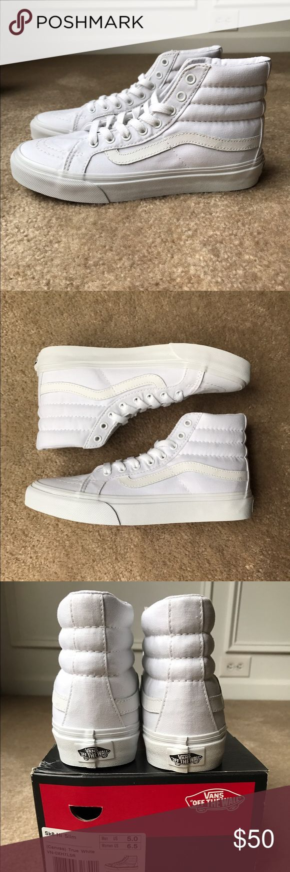 Vans Sk8-Hi Slim - True White - Canvas Brand New!!! Never Worn!!! Has a few tiny spots on them don't know where they came from. (As seen in Pic.) Comes with original shoe box. (Size:6.5 Women/5.0 Men) 🚫No Trades🚫 No Modeling. Vans Shoes Sneakers