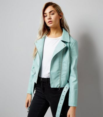 """Petite. Bring pastel shades to you wardrobe this spring with this leather-look jacket. Layer over a simple white tee and black skinny jeans to lift a casual look in seconds.- Leather-look finish- Collared neck- Simple long sleeves- Zip front fastening- Zip and popper side pockets- Belted hem- Slim fit that is closely cut- Atlanta is 5'5""""/165cm wears UK 10/EU 38/US 6 Petite size guide:UK size 4: Bust - 78cm, Waist - 60cm, Hips - 84cmUK size 6: Bust - 80cm, Waist - 62cm, Hips - 8..."""