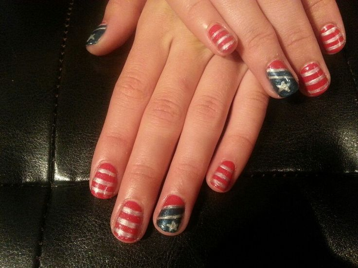 4th of July -Shellac nail art | nail art | Pinterest