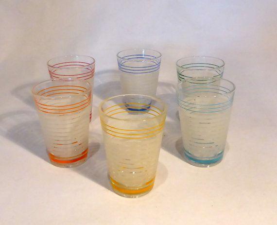 Set of 6 multicoloured shot glasses  original by RetroriginalUK  Barware  Shot Glasses  Shot  Glasses  Multicoloured  stripes bands  liqueur  barware  vintage  retro  gift  alcoholic  drink  frosted
