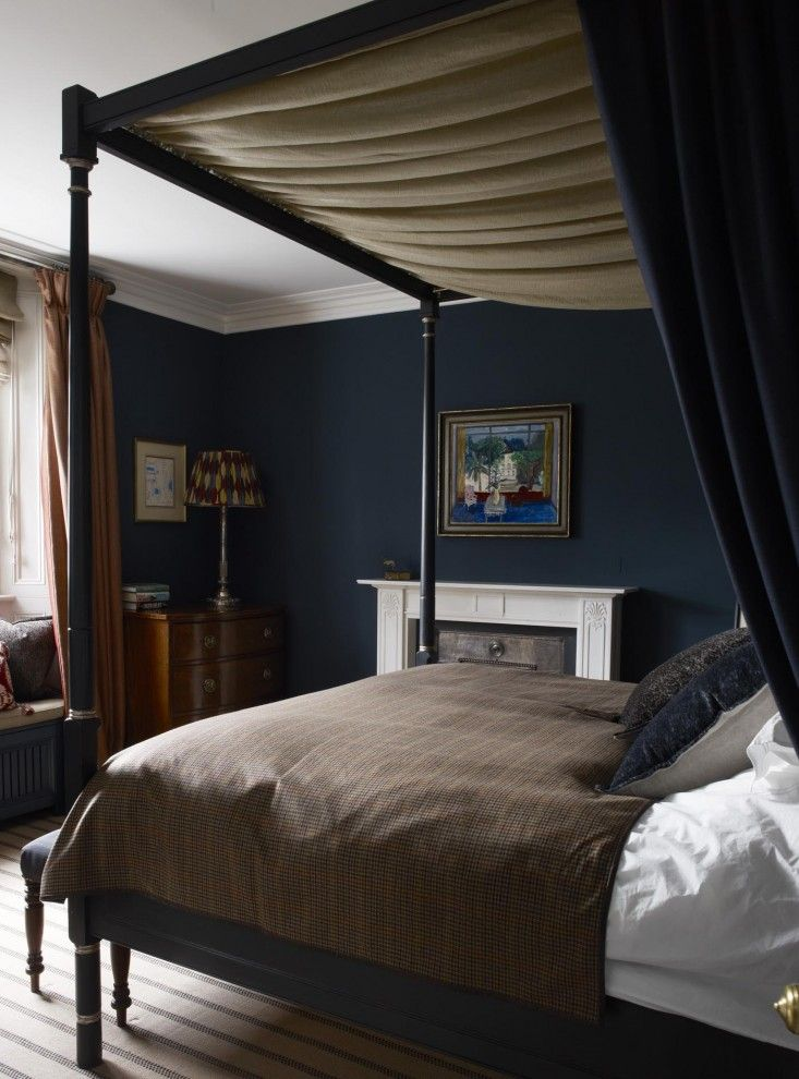 Dark blue master bedroom,  Regency four poster bed, Notting Hill house, Hackett Holland | Remodelista