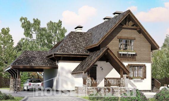 160-002-L Проект на двуетажна къща мансарда, тераса, бюджетен от газосиликатни блокове