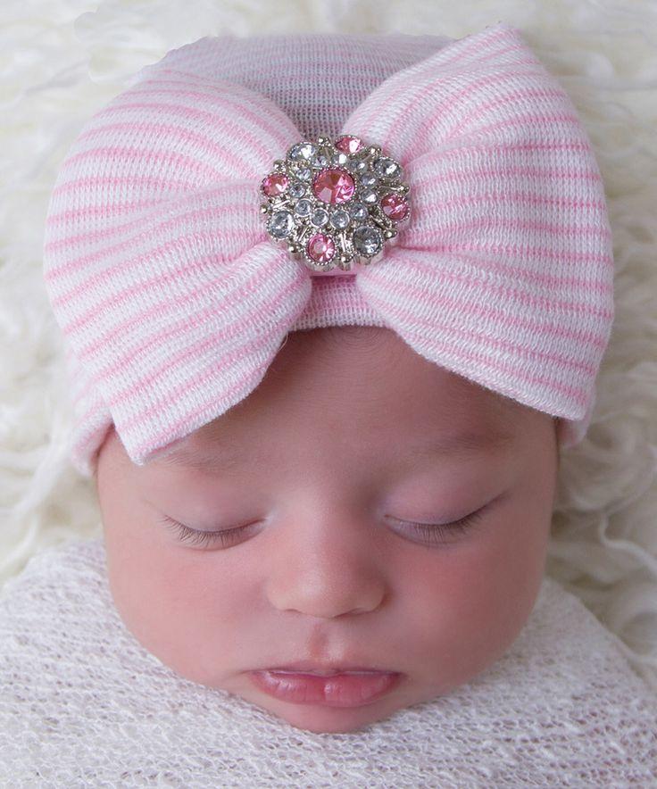 Another great find on #zulily! Infanteenie Beenie Pink Stripe Rhinestone Bow Beanie by Infanteenie Beenie #zulilyfinds