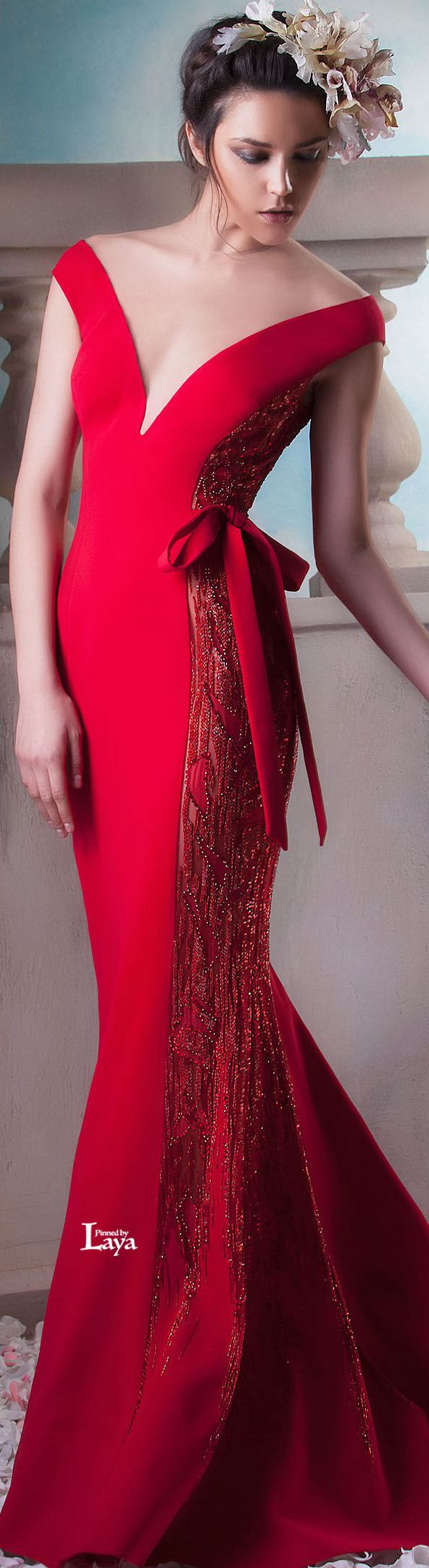 Hanna Touma ~ Couture Summer Red Plunging V Neckline Gown 2015