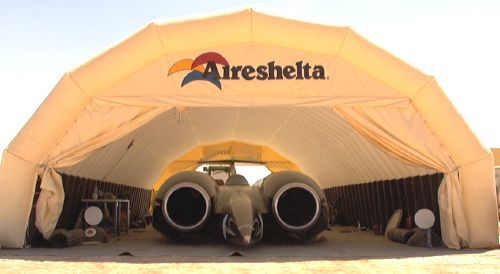 SSC thrust worlds fastest car - inflatable industrial shelter